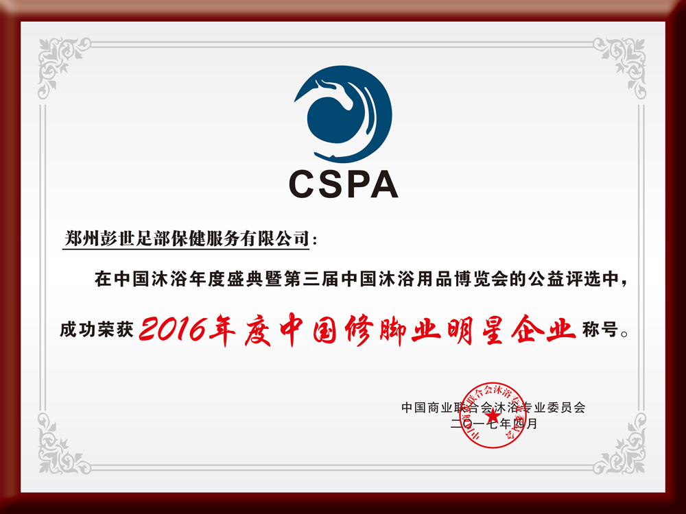 2016年度中华修脚业明星企业